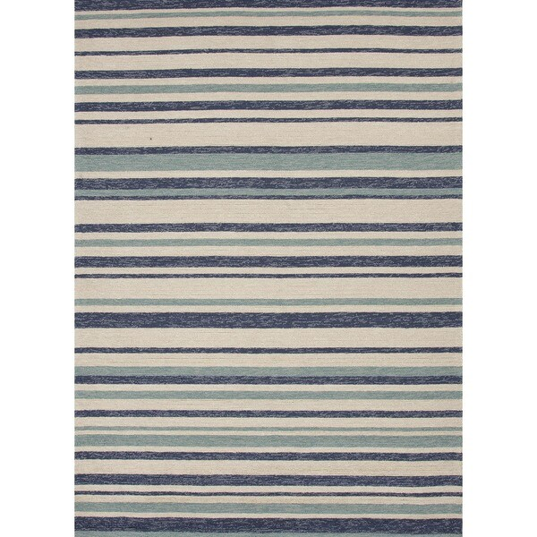 Stripe Blue Indoor/ Outdoor Rug (7'6 x 9'6)