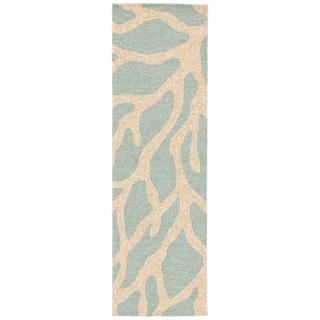 """Coronado Indoor/ Outdoor Abstract Teal/ Tan Area Rug (2'6"""" X 8')"""