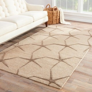 Sidra Handmade Abstract Beige Area Rug (8' X 11')