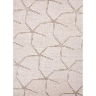 Transitional Ivory/White Starfish-Motif Wool/Silk Tufted Rug (2' x 3')