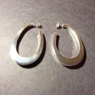 Handmade Silvertone Large Teardrop Post Earrings (Mexico) - Silver