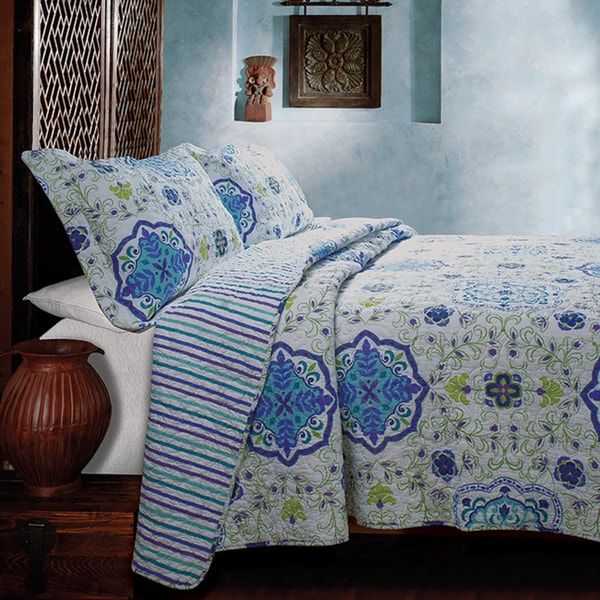 Greenland Home Fashions Esprit Blue 3-piece Quilt Set