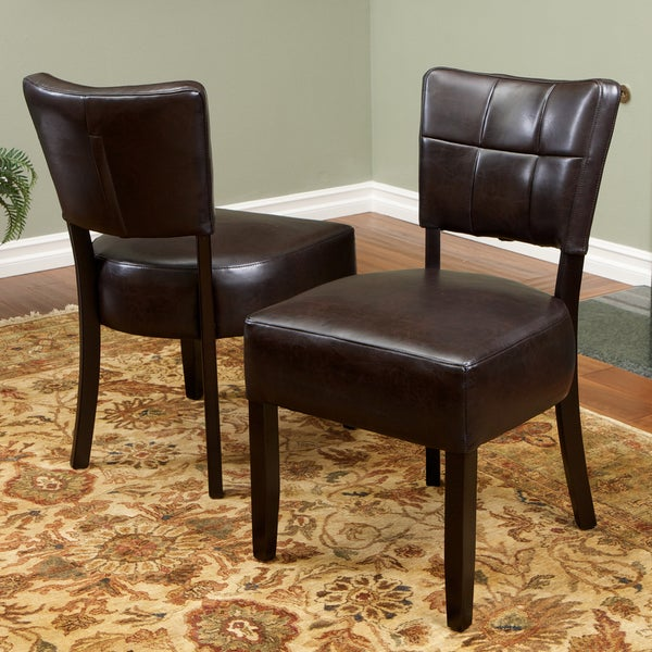 Firenze Brown Leather Dining Chairs (Set of 2) by Christopher Knight Home