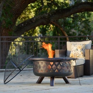 corvus monterey 31inch bronze rubbed steel outdoor fire pit - Fire Tables
