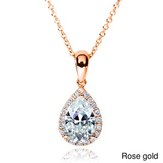 Annello by Kobelli 14k Gold 1 3/5ct TGW Pear Moissanite (H-I) and Diamond Halo Necklace
