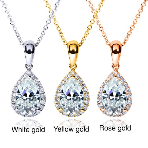 Annello by Kobelli 14k Gold Pear Moissanite and 1/8ct TDW Diamond Necklace (G-H, I1-I2)