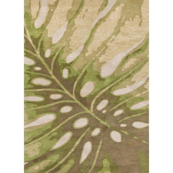Transitional Coastal Green Wool Tufted Rug (5' x 8')