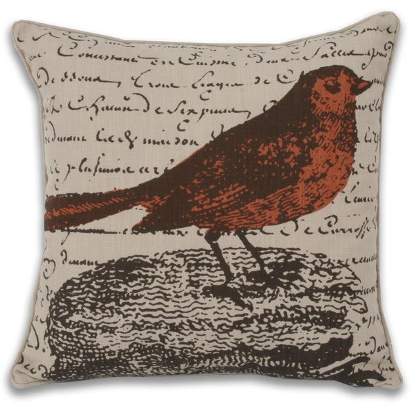 Perry Postcard Bird 17-inch Square Decorative Pillow