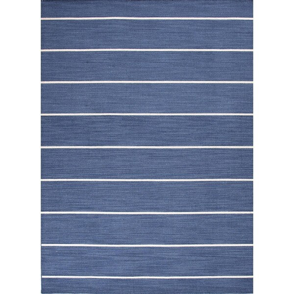 Handmade Flat Weave Stripe Blue Wool Rug (10' x 14')