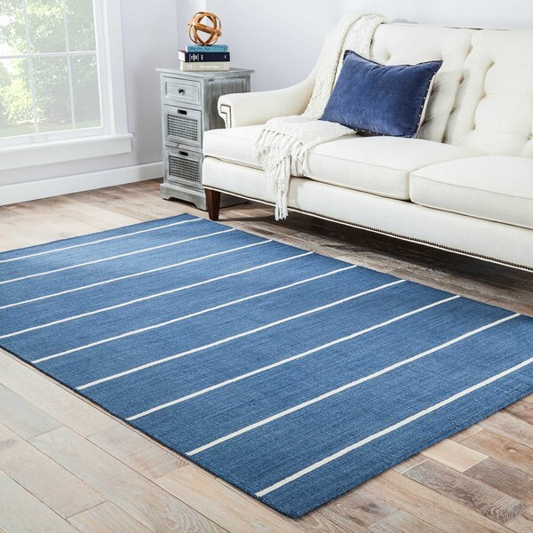 Handmade Contemporary Flat-weave Blue Stripe Wool Rug (8' x 10')