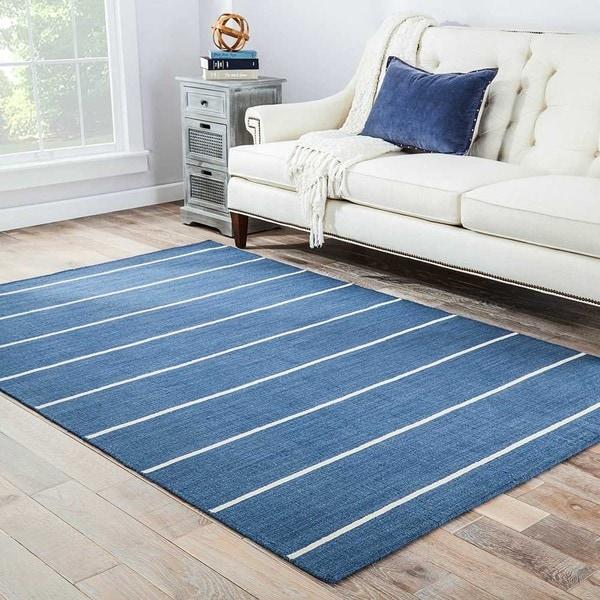 Byron Handmade Stripe Blue/ Cream Area Rug (8' X 10')
