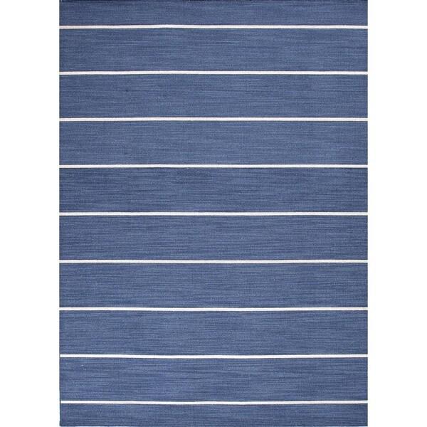 Handmade Traditional Flat-Weave Stripe Blue Wool Rug (4' x 6')