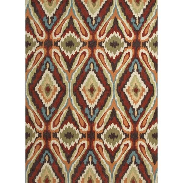 Transitional Tribal Red/ Orange Tufted Rug (3'6 x 5'6)