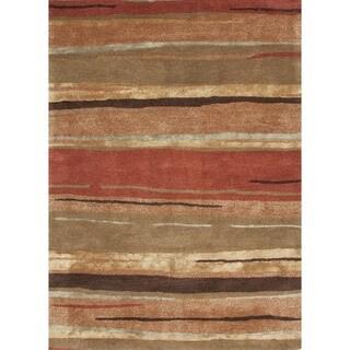 Transitional Red/ Orange Wool/ Silk Tufted Rug (3'6 x 5'6)