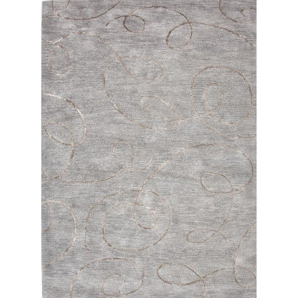 Transitional Gray/ Black Wool/ Silk Tufted Rug (5' x 8')