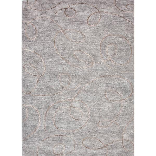 Transitional Gray/ Black Wool/ Silk Tufted Rug (9'6 x 13'6)
