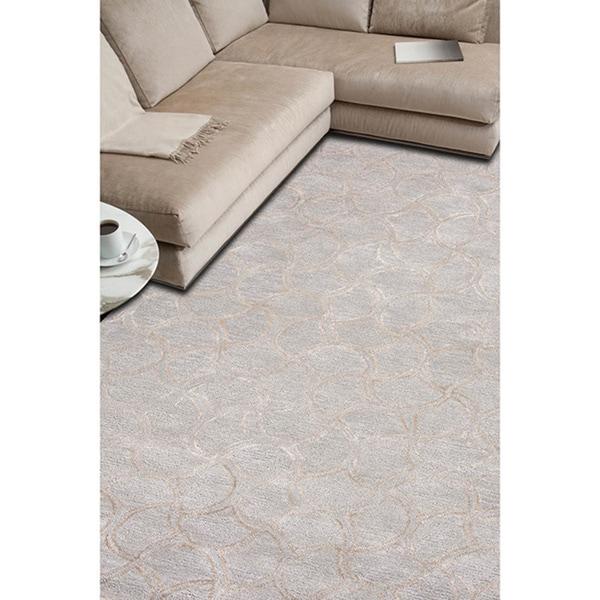 Transitional Gradation Blue/ Grey Wool/ Silk Tufted Rug (8' x 11')