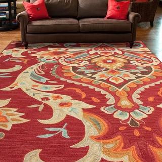 """Luella Handmade Floral Multicolor Area Rug (7'6"""" X 9'6"""")"""