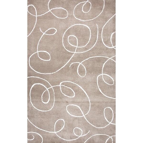 Transitional Beige/ Brown Wool/ Silk Tufted Rug (3'6 x 5'6)