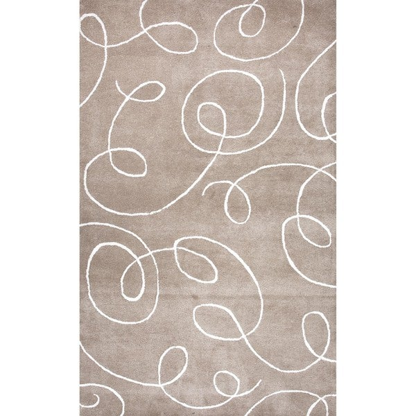 Transitional Beige/Brown Wool/Silk Tufted Abstract Rug (5' x 8')