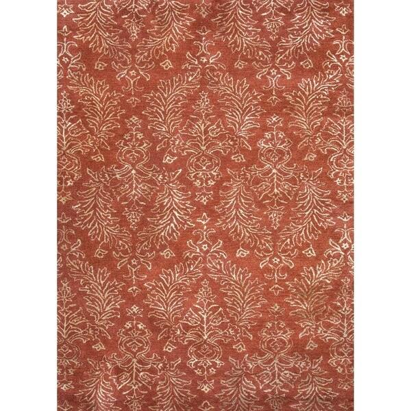 Transitional Oriental Red/ Orange Wool/ Silk Tufted Rug (5' x 8')