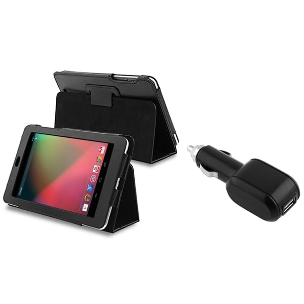 INSTEN Black Leather Phone Case Cover/ Car Charger for Google Nexus 7