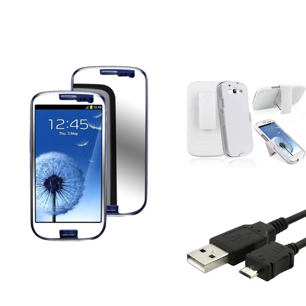 BasAcc Holster/ LCD Protector/ USB Cable for Samsung Galaxy S3/ SIII