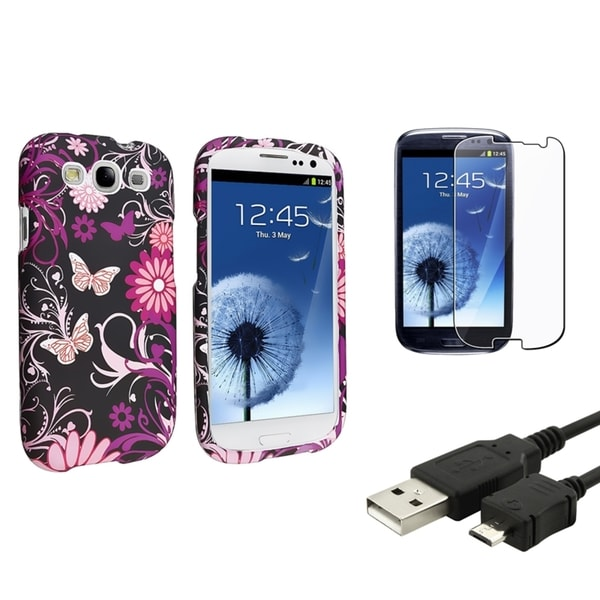INSTEN Phone Case Cover/ LCD Protector/ USB Cable for Samsung Galaxy S3/ S III
