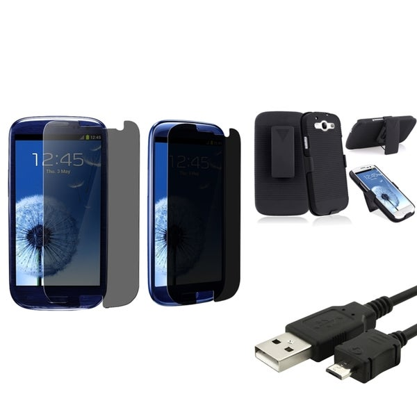 INSTEN Phone Case Cover With Holster/ LCD Protector/ USB Cable for Samsung Galaxy S3/ S III