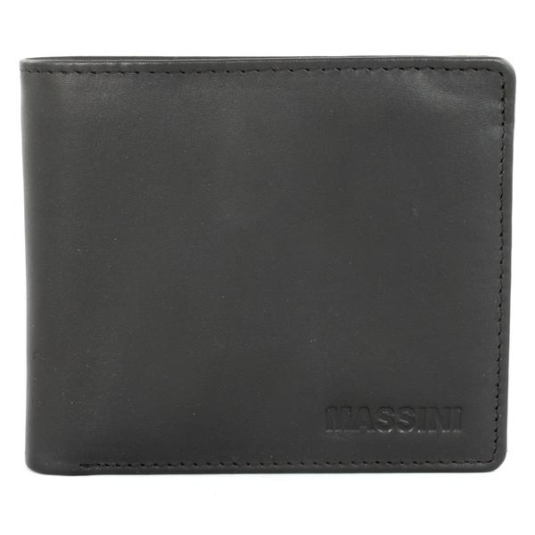 Massini Men's Black Leather Bi-fold Design