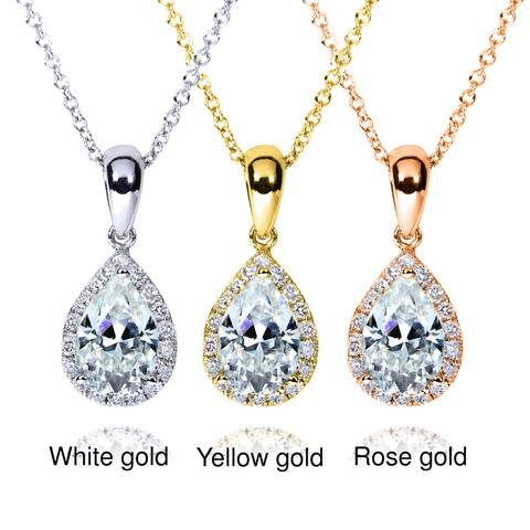 Annello by Kobelli 14k Gold 1ct TGW Pear-cut Moissanite and Diamond Halo Necklace