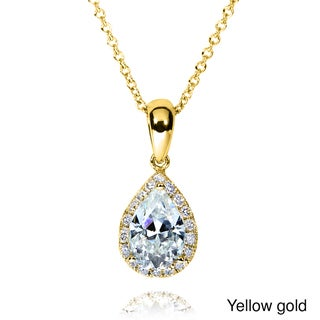 Annello by Kobelli 14k Gold Pear Moissanite and 1/8ct TDW Round-cut Diamond Necklace (G-H