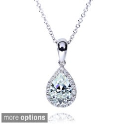 Annello by Kobelli 14k Gold 1ct TGW Pear-cut Near Colorless Moissanite (H-I) and Diamond Halo Necklace
