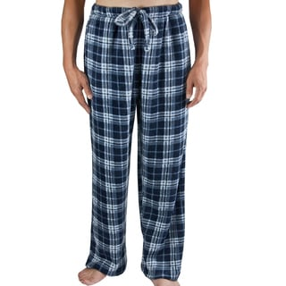 Leisureland Men's Navy Blue Plaid Fleece Pants