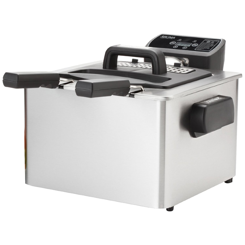 Aroma Housewares ADF-232 Digital Deep Fryer, Silver Stain...