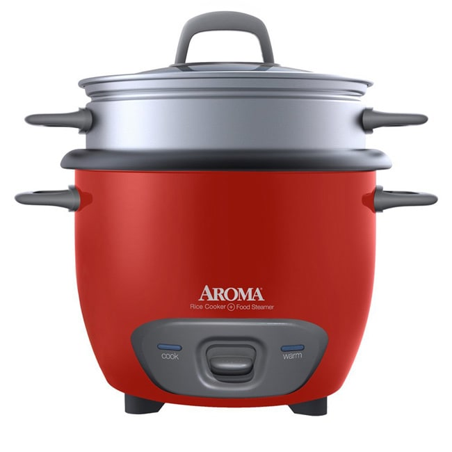Aroma Housewares 6-cup Rice Cooker, Red (Metal)