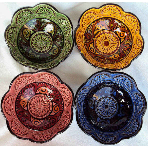 Set of 4 Engraved Ceramic Bowls  , Handmade in Morocco