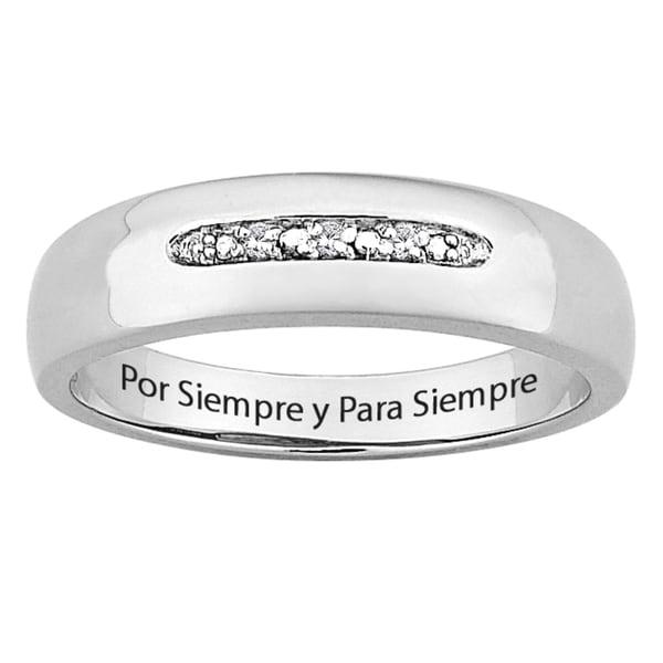 Sterling Silver Diamond Accent 'Por Siempre y Para Siempre' Spanish Ring