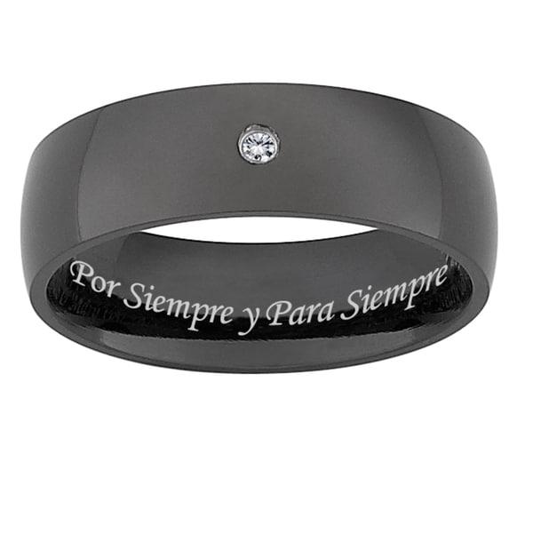 Men S Wedding Bands Black Anium X27 Diamond Accent Por Siempre Y