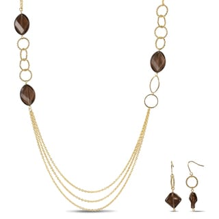 M by Miadora 18k Goldplated Smokey Quartz Jewelry Set