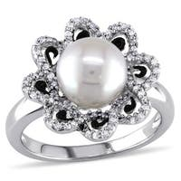 Miadora Sterling Silver Freshwater Pearl and 1/4ct TDW Diamond Ring (H-I, I2-I3)