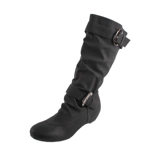 Fashion Focus by Beston Women's Black Buckled Boots