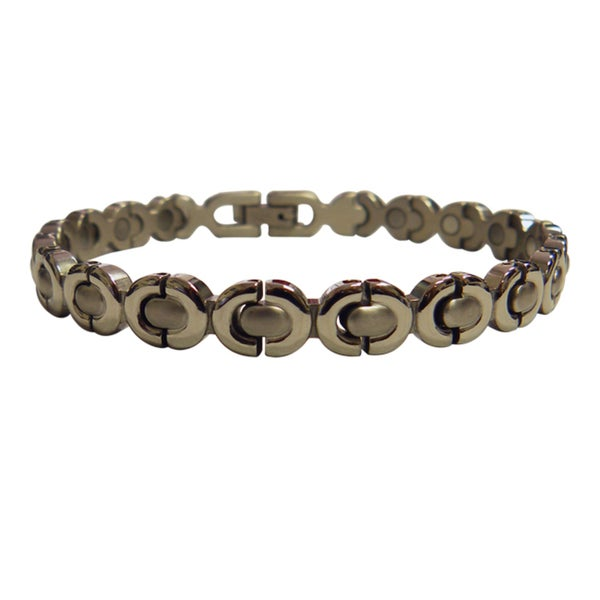 Magnetic Bracelet Silver Ribbon Design