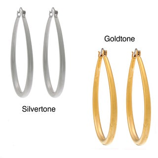 NEXTE Jewelry Silvertone or Goldtone Matte Teardrop Hoop Earrings