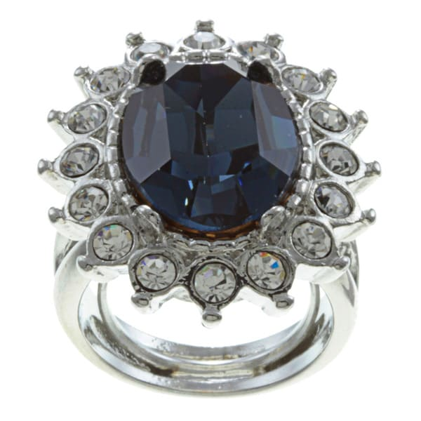 Kenneth Jay Lane Silvertone Blue Crystal Ring