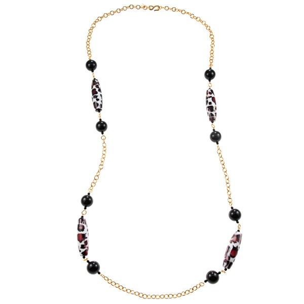 Kenneth Jay Lane Goldtone Link Black Bead Oval Leopard Bead Necklace