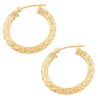 Fremada 14k Yellow Gold Diamond Cut Hollow Hoop Earrings
