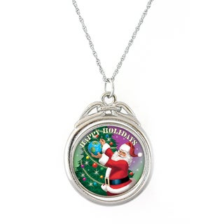 American Coin Treasures 'Happy Holidays' Half Dollar Spinner Necklace