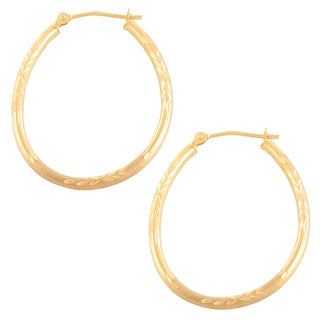 Fremada 14k Yellow Gold Polished and Matte Oval Hoop Earrings