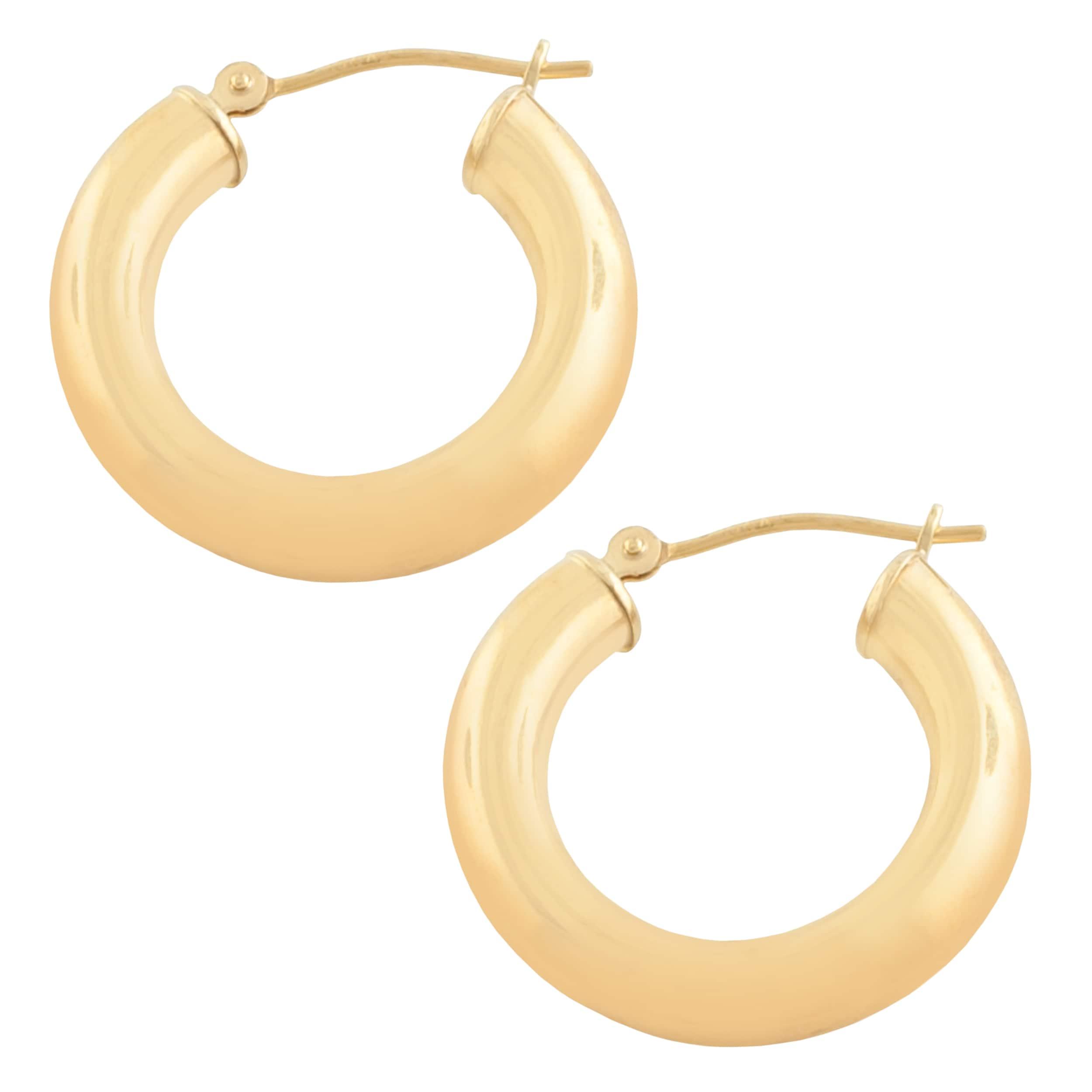 FB Jewels 14K Rose Gold 15 mm Pair Polished Endless Hoop Earrings